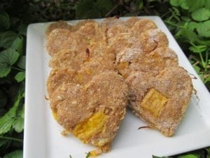 Perfect mango chicken treats ready for your dog to enjoy.
