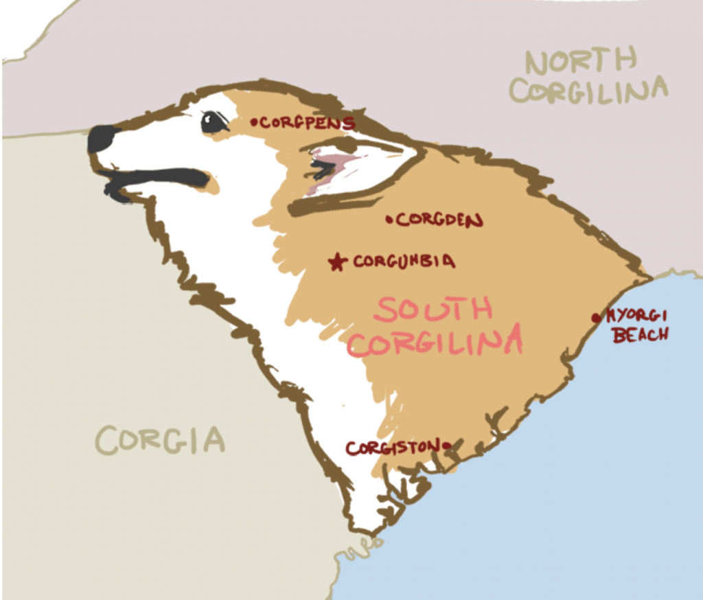 Map of the corgi dog states.